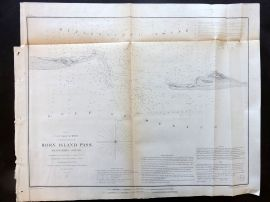 U.S. Coast Survey 1853 Antique Map. Horn Island Pass, Mississippi Sound